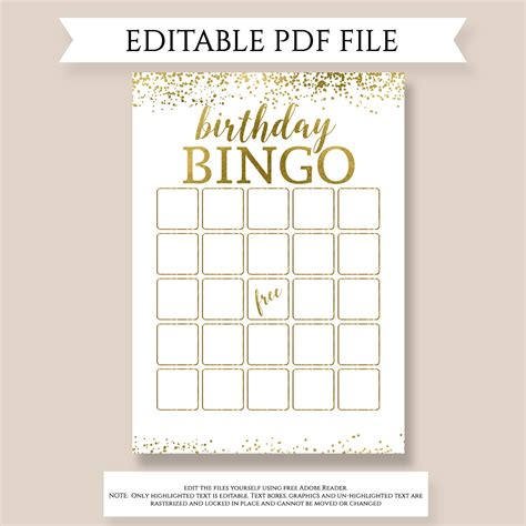 editable bingo card template editable birthday bingo birthday gift bingo