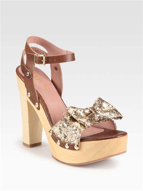 valentino leather glitter bow wooden platform sandals