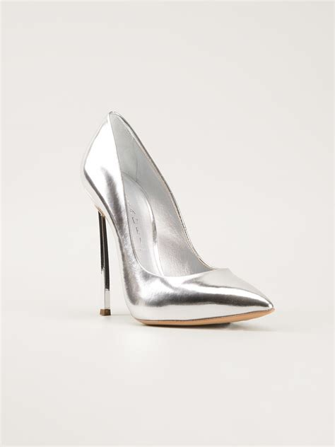 Color Panel High Heel Pumps lyst casadei high heel pumps in metallic