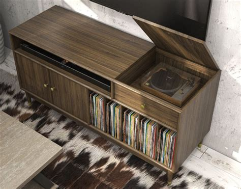 Style Turntable Console Plays Nearly New Fangled Cds by Furnishing The Vinyl Record Revival