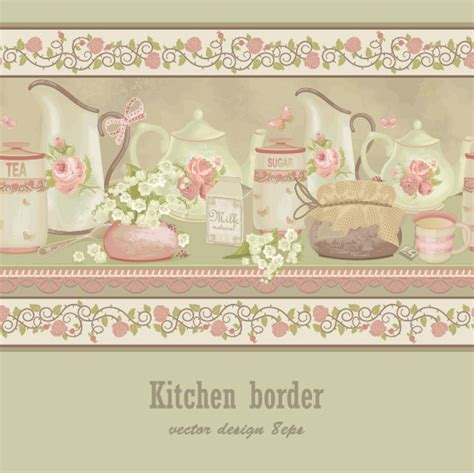 set of kitchen border vector design elements