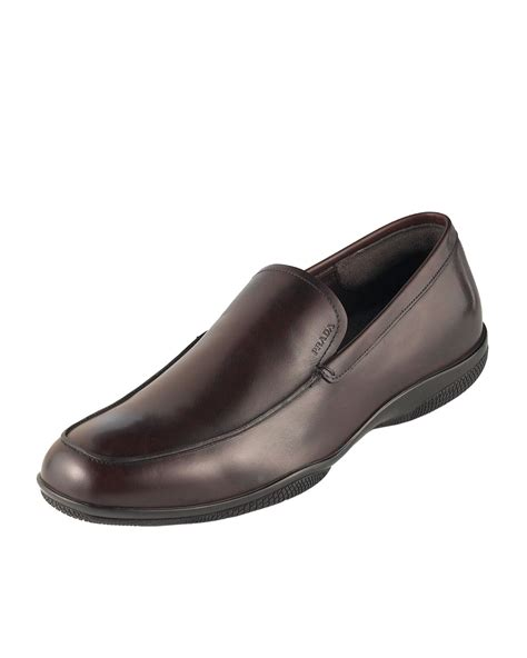 prada loafers prada calfskin loafer in brown for bruciato lyst