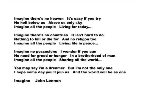 imagine beatles testo lennon imagine lyrics only