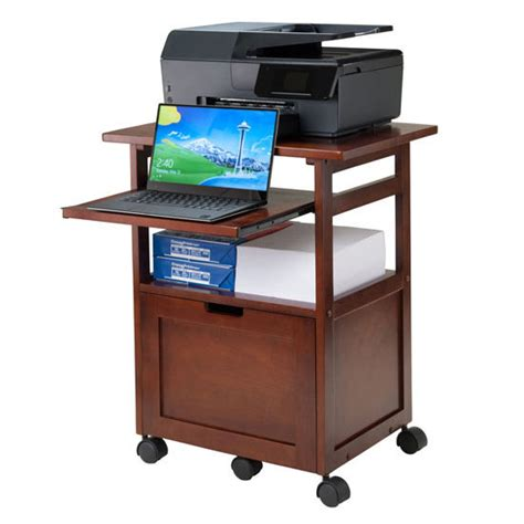 Portable File Cabinet Piper Portable Work Cart Printer Stand With Pull Out Key Board And File Cabinet Drawer In