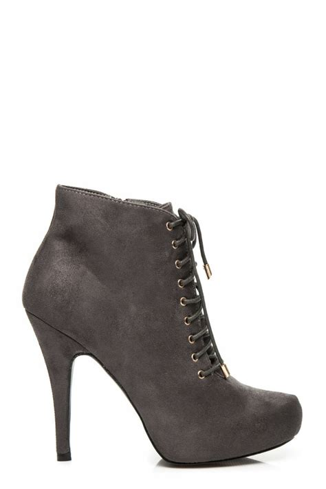 High Hells Suede fashion e shop high heels suede booties grey 040 zoki004