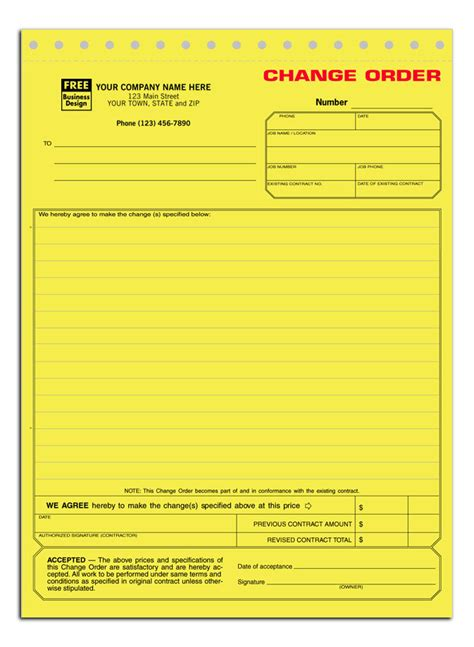 Additional Work Authorization Form Change Order Form Additional Work Order Template Free
