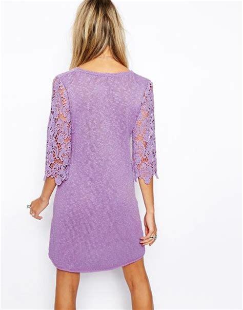 tunik lilac asos crochet tunic dress in purple lilac lyst