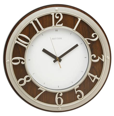 silent wall clocks traditional rhythm wall clock silent no ticking in brown