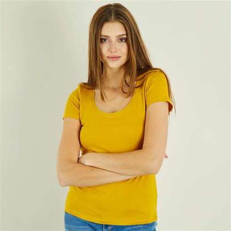 camiseta manga corta camiseta de manga corta mujer amarillo kiabi 3 00