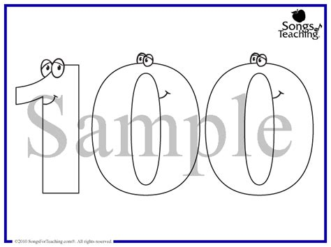 coloring page of the number 100 free coloring pages of 100 day