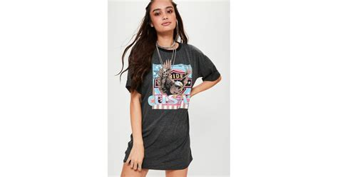 Rok Umbrella Jersey Berkualitas missguided printed graphic rock jersey t shirt dress grey in grey save 64 lyst