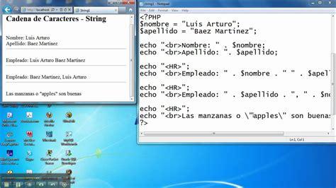 concatenar cadenas en c cs072 07 c cadenas de caracteres o strings en php youtube