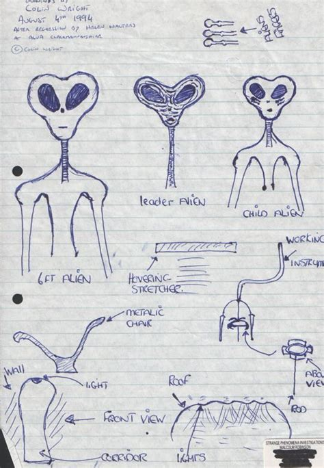 ufo occupants drawings sketches and non human reports