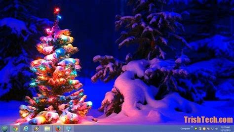 christmas themes microsoft give desktop a christmas look with snowy night theme from