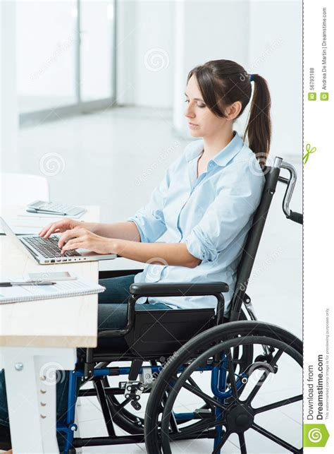 computer desk for disabled young disabled businesswoman at work stock photo image