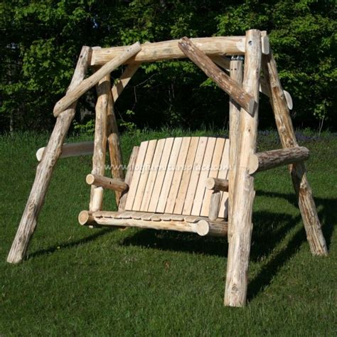 cedar log swing cedar massive log swing outdoor log furniture