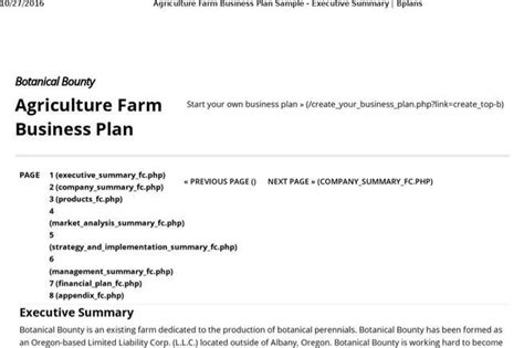 agriculture business plan template plan templates free premium templates forms