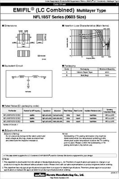 murata capacitor specifications nfl18st207x1c3d datasheet murata nfl chip emifil 3 terminal capacitor lc filter