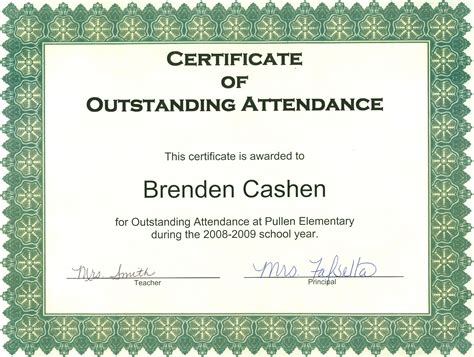 perfect attendance certificate template free new