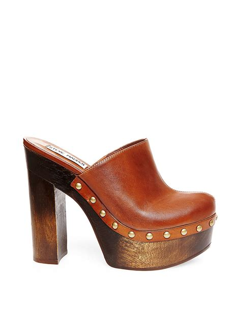 platform clogs for steve madden luhna leather platform clogs in brown lyst