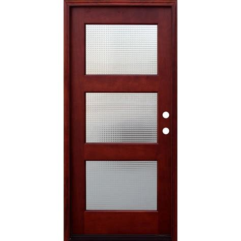 Door Lites Exterior Doors Pacific Entries 36 In X 80 In Contemporary 3 Lite Cross Reed Stained Mahogany Wood Prehung