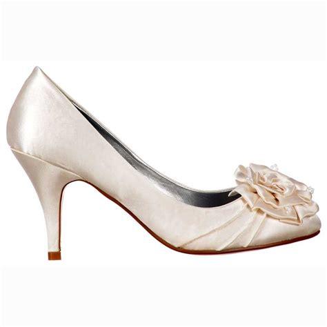 heel shoes shoekandi bridal wedding low kitten heel shoes flower