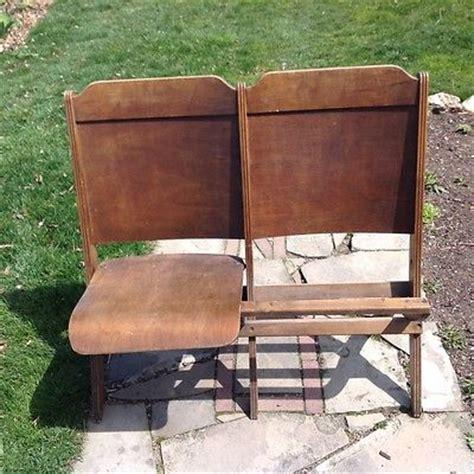 wooden theater seats 2 vintage wooden theater stadium seats folding chairs row