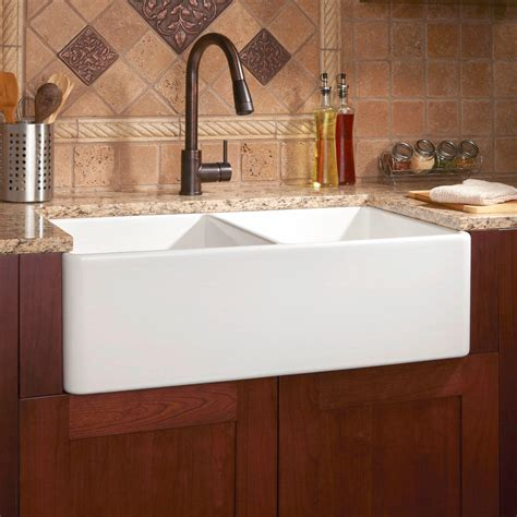 Fireclay Kitchen Sinks by Signature Hardware 33 Quot Reinhard Bowl Fireclay