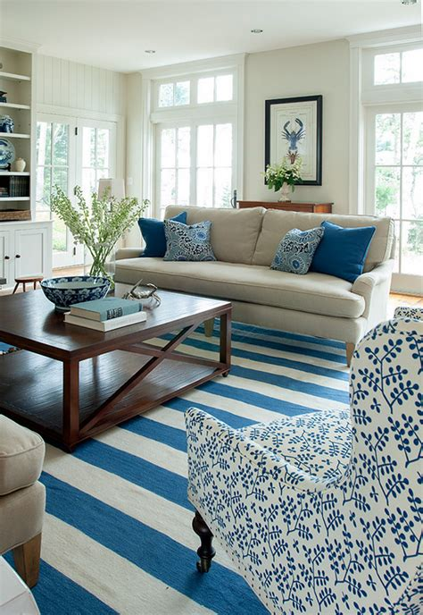 blue and white living room decorating ideas maine beach house with classic coastal interiors home