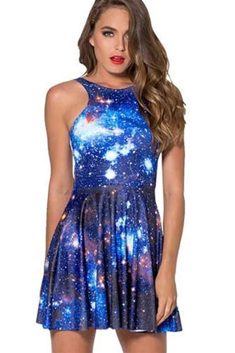Blue Galaxy Print S M L Dress 44349 blue casual dresses dresses