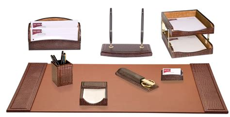 D2020 Brown Crocodile Embossed Leather 10 Piece Desk Set Desk Accessories Sets