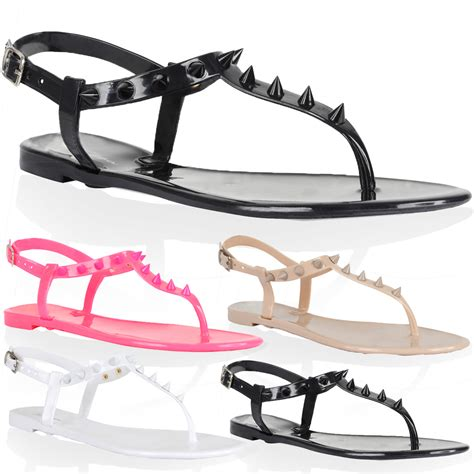 studded jelly sandals new womens spiked flat studded t bar jelly