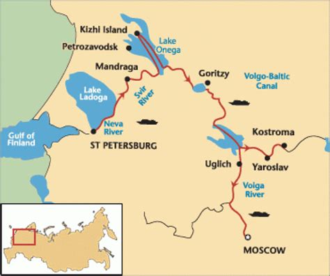 map of russia with cities and rivers volga river map