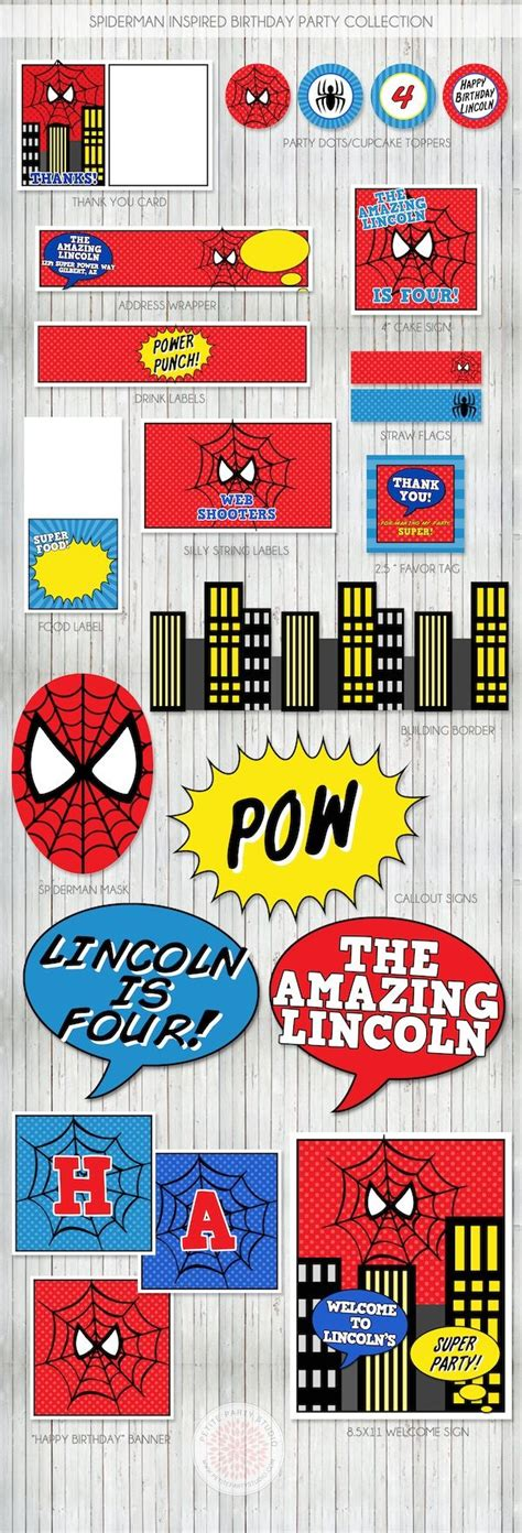 printable spiderman party decorations spiderman birthday party party printables birthdays and