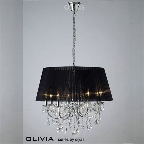 Black Ceiling Light Shade Diyas Uk Il Il30056 Bl Polished Chrome Eight Light Pendant Ceiling Fitting With