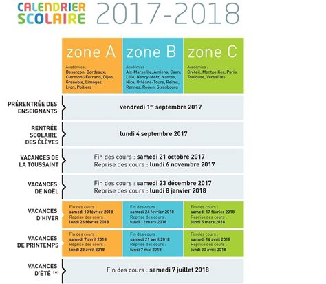 Calendrier Scolaire Zone B Vacances Scolaires 2018 Zone B