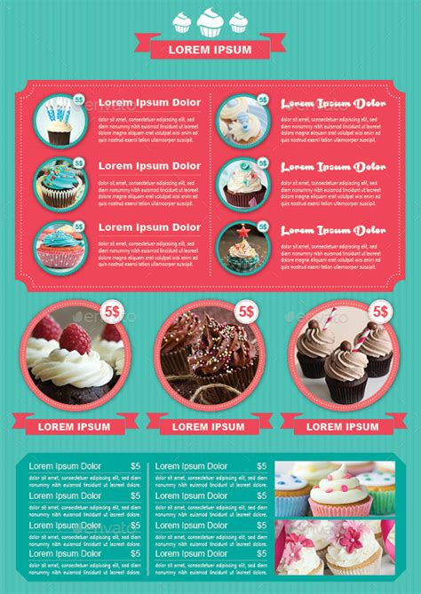 bifold cupcake menu template by avindaputri graphicriver