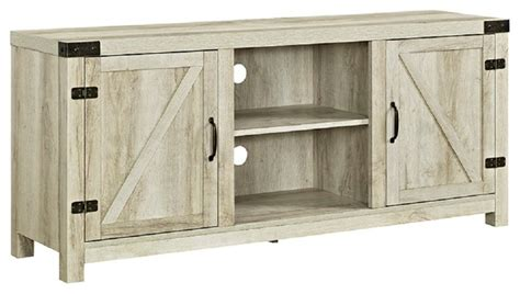 white barn door entertainment center 58 quot barn door tv stand with side doors farmhouse