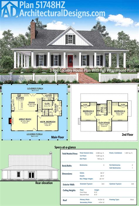 Country House Plans With Open Floor Plan by Plan 51748hz 3 Bed Country House Plan With