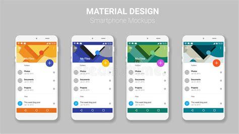 material design mockup material ui screens mockup kit stock vector illustration