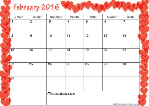 printable weekly calendar february 2016 9 best images of cute free printable february 2016 blank