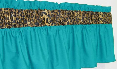 wide pocket valance curtain 3 in wide rod pocket turquoise cheetah leopard