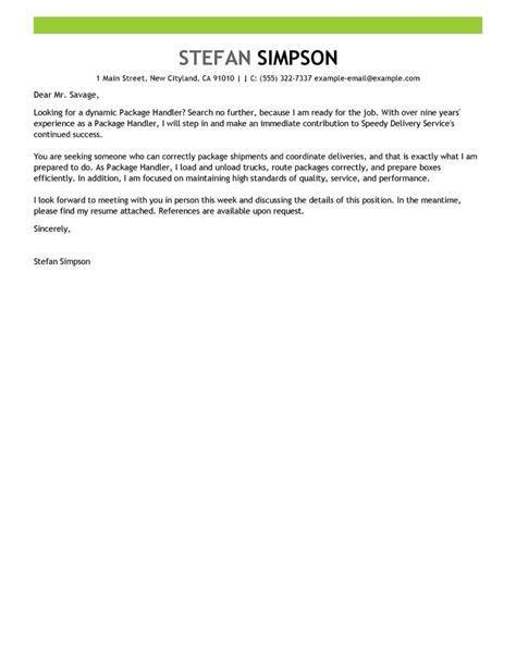 best package handler cover letter exles livecareer