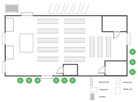 layout of warehouse plant layout plans solution conceptdraw com