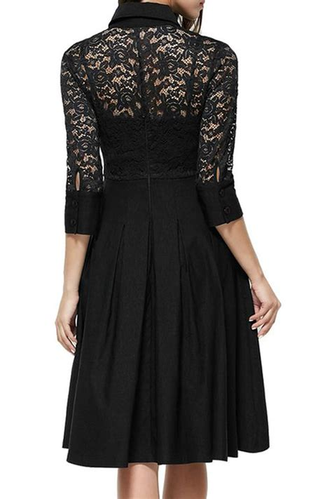 Black Slim Waist Dress jhonpeter collar style slim waist halter skirt lace dress black jhonpeters