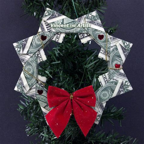 origami money christmas dollar origami wreath beautiful tree ornament made of money bill origami
