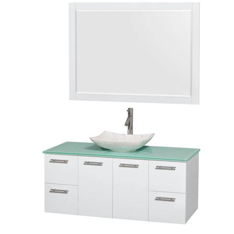 What Is The Answer To The Green Glass Door Riddle Wyndham Collection Amare 48 In Vanity In Gray Oak With Glass Vanity Top In Green Marble Sink