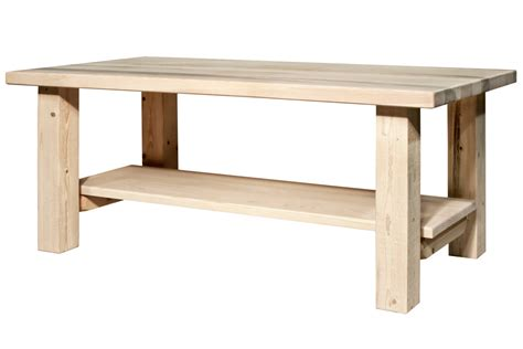 Rustic Coffee Tables Homestead Coffee Table With Shelf Unfinished Coffee Table