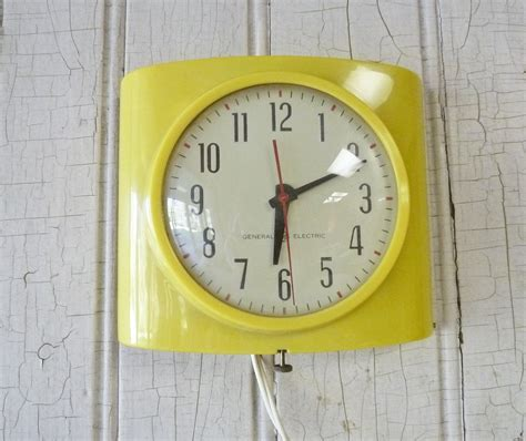 yellow kitchen clock vintage general electric yellow kitchen wall clock 1950s