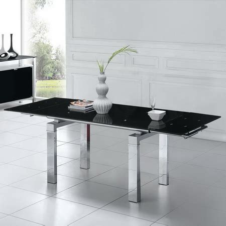 Black Glass Extending Dining Table Extending Black Glass Dining Table Maxi